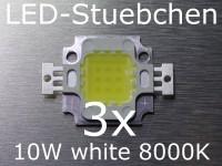 3x 10W High-Power LED Kaltweiss 8000K