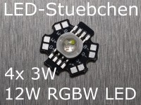 12W RGBW High-Power LED, 4x 3W, 700mA