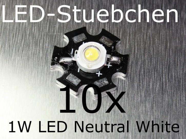 10x 1W High-Power LED Neutralweiss 350mA
