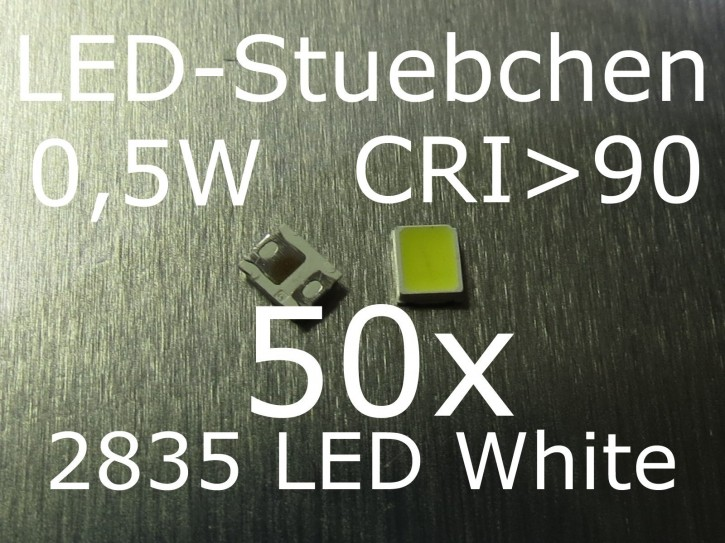 50x 2835 Kaltweiss SMD LED 0,5W 150mA CRI>90
