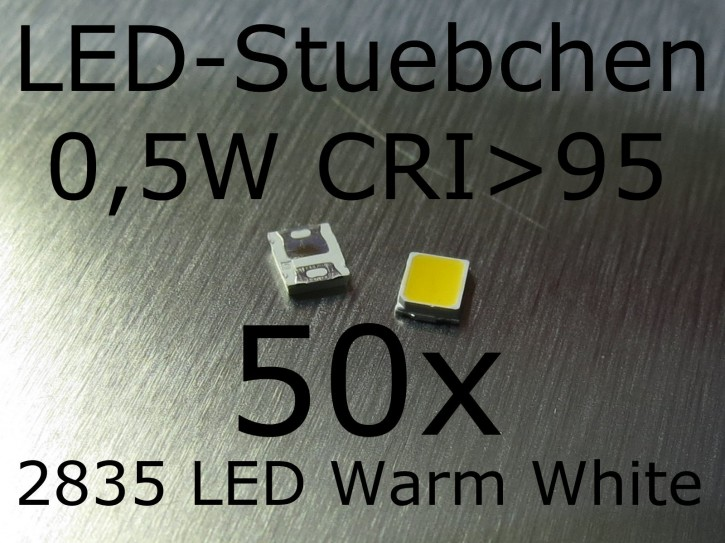 50x 2835 Warmweiss SMD LED 0,5W 150mA CRI>95