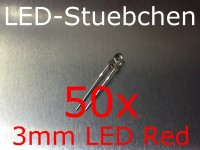 50x 3mm LED Rot