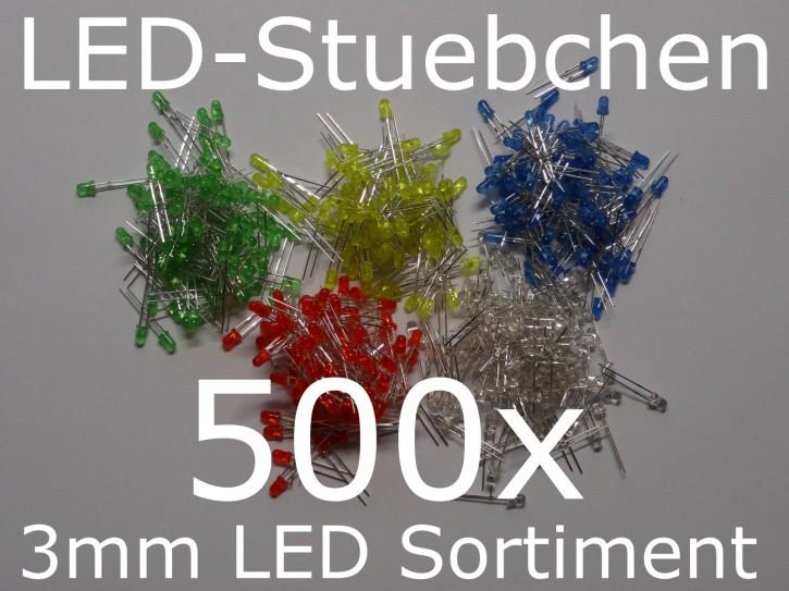 3mm LED Sortiment 5x 100 Stück = 500 Stück