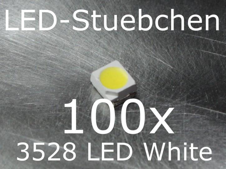 100x 3528 Kaltweiss SMD LED