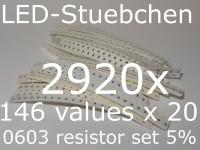 SMD Widerstandssortiment 0603 5%, 146 Werte x 20 Stück = 2920 Stück