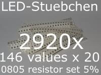 SMD Widerstandssortiment 0805 5%, 146 Werte x 20 Stück = 2920 Stück