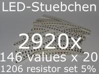 SMD Widerstandssortiment 1206 5%, 146 Werte x 20 Stück = 2920 Stück