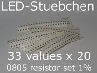 SMD Widerstandssortiment 0805 1%, 33 Werte x 20 Stück = 660 Stück