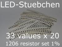 SMD Widerstandssortiment 1206 1%, 33 Werte x 20 Stück = 660 Stück