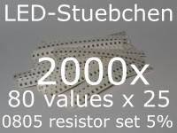 SMD Widerstandssortiment 0805 5%, 80 Werte x 25 Stück = 2000 Stück