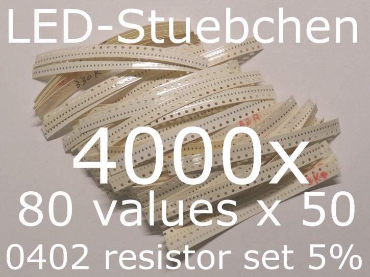 SMD Widerstandssortiment 0402 5%, 80 Werte x 50 Stück = 4000 Stück