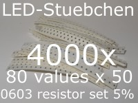 SMD Widerstandssortiment 0603 5%, 80 Werte x 50 Stück = 4000 Stück