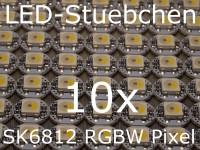 10x SK6812 RGBW LED auf Mini-Platine mit Anschluss-Pads