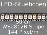 WS2812B RGB Stripe 0,5m - LEDs mit integriertem WS2811 controller, 144 LED/m, schwarz