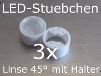 3x LED Linse 45° mit Halter, für 20mm Sternplatine