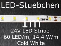 LED Stripe kaltweiss mit 60 LED/m, 2835, 24V, Konstantstromtreiber, KSQ