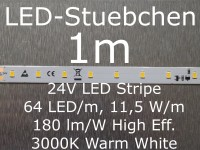 LED Stripe, 180 lumen/Watt, warmweiss mit 64 LED/m, 2835, 24V, Konstantstromtreiber, KSQ, High-Efficiency