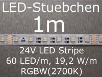 LED Stripe RGBW mit 60 LED/m, 5050, 24V, 19,2 W/m, Konstantstromquelle, KSQ