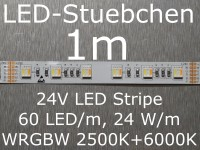 LED Stripe 5-in-1 WRGBW mit 60 LED/m, 5050, 24V, 24 W/m