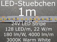 LED Stripe, 180 lumen/Watt, 4000 lm/m, warmweiss mit 128 LED/m, 2835, 24V, Konstantstromtreiber, KSQ, High-Efficiency