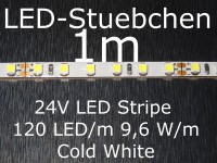 LED Stripe kaltweiss mit 120 LED/m, 3528, 24V, nur 5mm breit