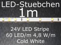 LED Stripe kaltweiss mit 60 LED/m, 3528, 24V, nur 5mm breit
