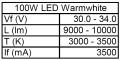 1x 100W High-Power LED Warmweiss