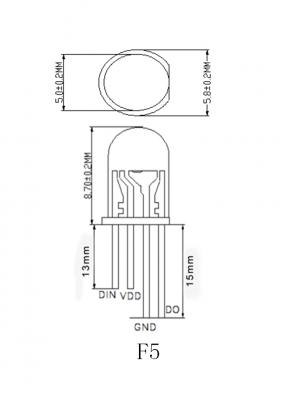 10x APA106 F5 / P9823 / YF923 - 5mm RGB LED mit integriertem Controller, wie WS2812B